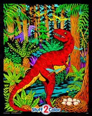 Dinosaur Fuzzy Coloring Poster - For Kids and Adults