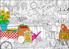 Market Produce - 10x14 Coloring Poster