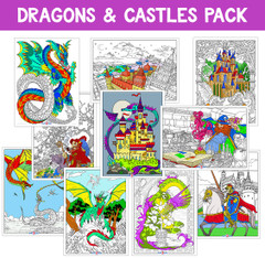 Dragons, Castles, and Fantasy - Coloring Poster 10-pack