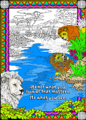 Lion Reflection - Coloring Poster for Kids and Adults