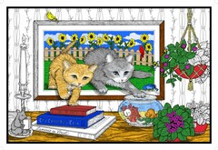 Kitty Frame - Giant Coloring Poster for All Ages