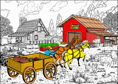Ranch House - 10x14 Coloring Poster