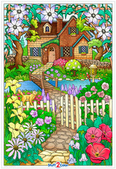 Beautiful and charming. This giant coloring poster is yours to bring to life. What colors will you select for your Hidden Cottage? This oversized arts and crafts activity is perfect for kids and adults. Share your indoor quiet time with a friend or color this design all to yourself.