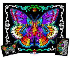 Geo Butterfly - Fuzzy Coloring Poster with 2 Bonus Designs