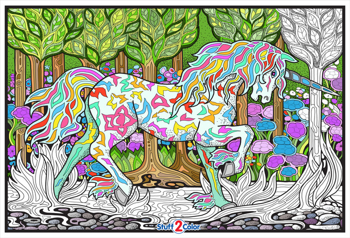 Giant, detailed, magical.  Have fun completing this Forest Unicorn giant coloring poster.