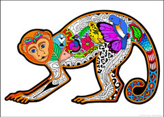 Monkey 10x14 Inch Coloring Poster