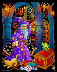 Wizard Lantern - Fantasy Velvet Coloring Poster