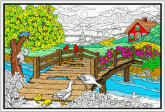 Country Bridge - Coloring Poster