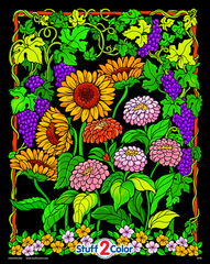 Sunflower Garden - Velvet Coloring Poster