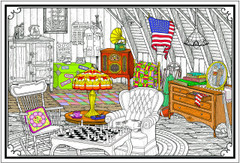 Cozy Attic - Coloring Poster