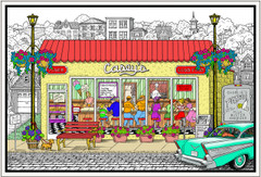 Hometown Diner - Coloring Poster