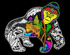 Gorilla - Fuzzy Velvet Coloring Poster - Inner Nature