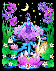 Night Princess - Fuzzy Coloring Poster for Kids & Adults