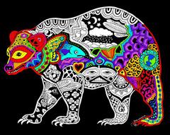 Bear - 16x20 Fuzzy Velvet Coloring Poster Inner Nature