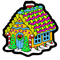 Frosted Gingerbread House - Velvet Holiday Ornament