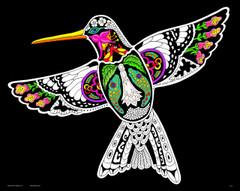 Hummingbird - 16x20 Fuzzy Velvet Coloring Poster Inner Nature