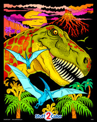 T-Rex Dinosaur Jungle - Fuzzy Coloring Poster for Kids and Adults