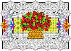 Cherry Basket - 10x14 Coloring Poster
