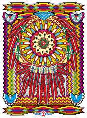 Color our Dream Catcher line art coloring poster. This detailed design is both challenging and beautiful.