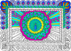 Peacock - 10x14 Coloring Poster