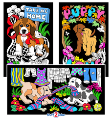 Puppies For Sale - Velvet Coloring Poster 3 Pack