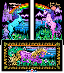 Unicorns - 3 Fuzzy Coloring Posters in 1