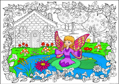Fairy Cottage - 10x14 Coloring Poster