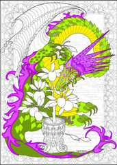 Dragon Golden Apple - 10x14 Coloring Poster