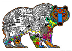 Grizzly Bear Inner Nature Coloring Poster