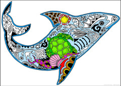Shark Inner Nature Coloring Poster