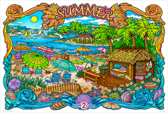 Summertime - Giant Coloring Poster
