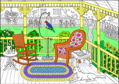 Front Porch - 10x14 Coloring Poster