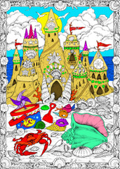 Sandcastle - 10x14 Coloring Poster