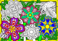 Flower Critters - 10x14 Coloring Poster