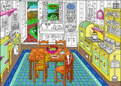 Granny's Kitchen - 10x14 Coloring Poster