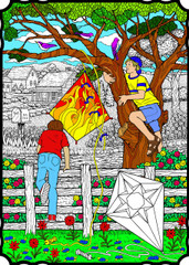Kite Tree - 10x14 Coloring Poster