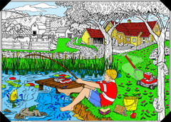 Country Chores - 10x14 Coloring Poster