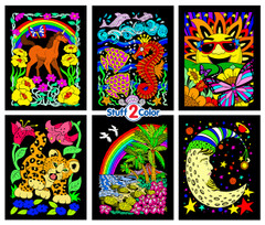 Unicorn, Leopard Cub, Turtles, Moon, Seahorse, Sun (6-Pack)
