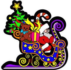 Santa's Sleigh Velvet Ornament
