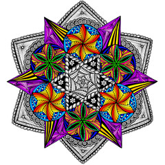Bright Lights Mandala - Line Art