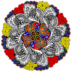 Ruffled Feathers Mandala - Line Art