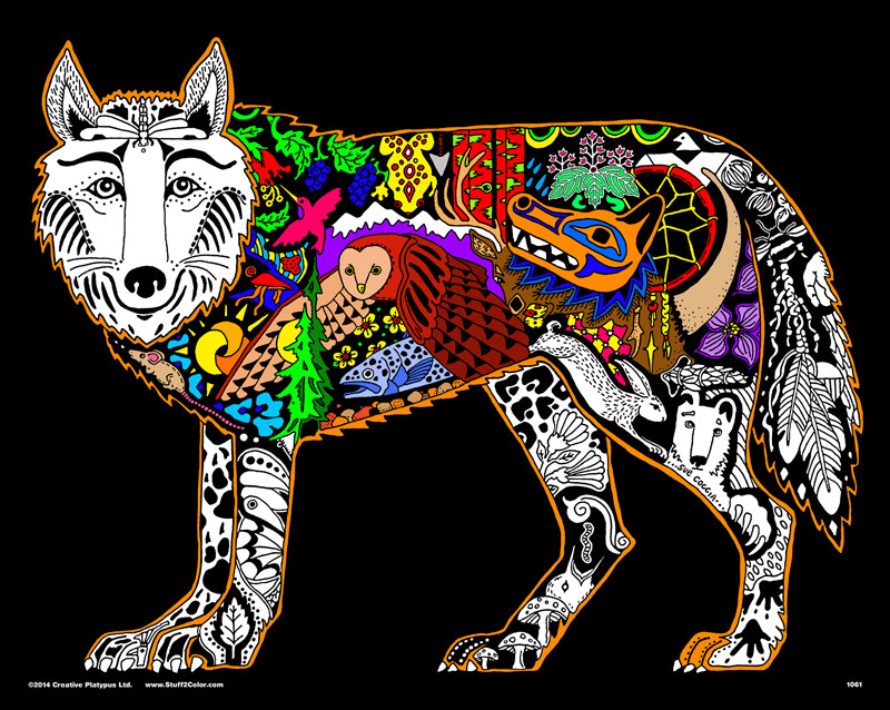 Wolf - 16x20 Fuzzy Velvet Coloring Poster Inner Nature - Stuff2Color