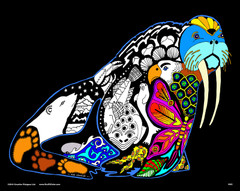 DISCONTINUED - Walrus - Fuzzy Velvet Coloring Poster - Inner Nature