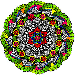 Petals & Pathways Mandala - Line Art