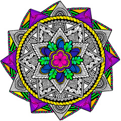 Ring Around Mandala - Line Art