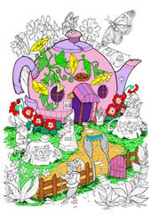 Gnome Garden Cafe - 10x14 Coloring Poster