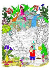 Gnome Splash - 10x14 Coloring Poster
