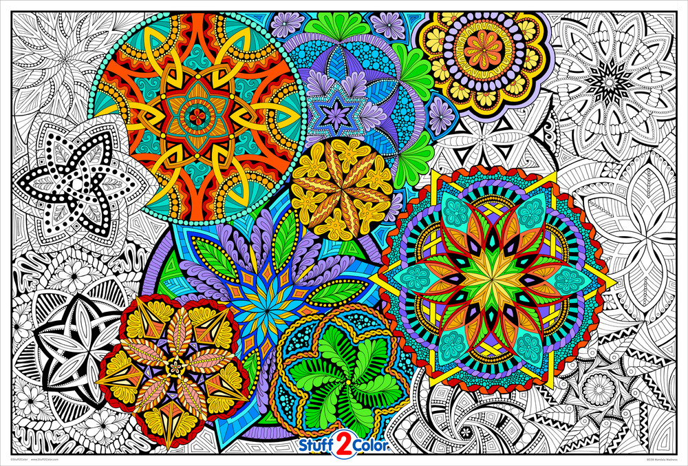Giant Coloring Poster Mandala Madness - Huge Coloring For Kids And Adults -  Super Detailed Coloring Poster Will Take Hours To Complete - Great For  Indoor Activities, Family Time, Group Projects, Classroom And More.