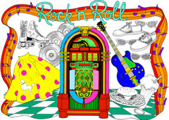 Rock 'n' Roll - 10x14 Coloring Poster