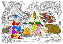 Gnome Campfire Wisdom - 10x14 Coloring Poster